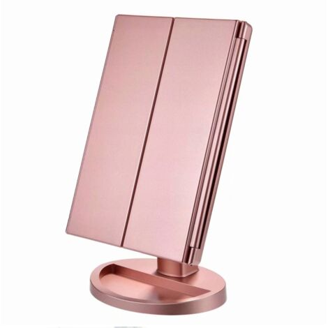 Enlightened courtesy mirror, magnification 1x / 2x / 3x, folding courtesy mirror, female, USB charging function, 180 degree adjustable support for kitchen countertop courtesy mirror (rose gold)