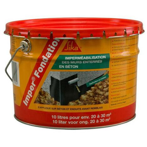 Enlucido impermeabilizante para cimentaciones de hormigón - SIKA Imper fondation - Negro - 10L - Noir
