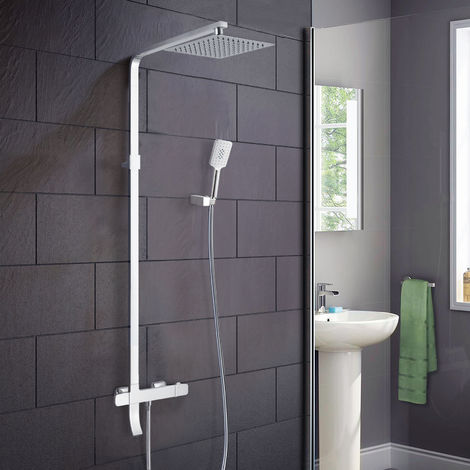 Enora 3 Way Square Thermostatic Shower Mixer Kit with Bath Filler