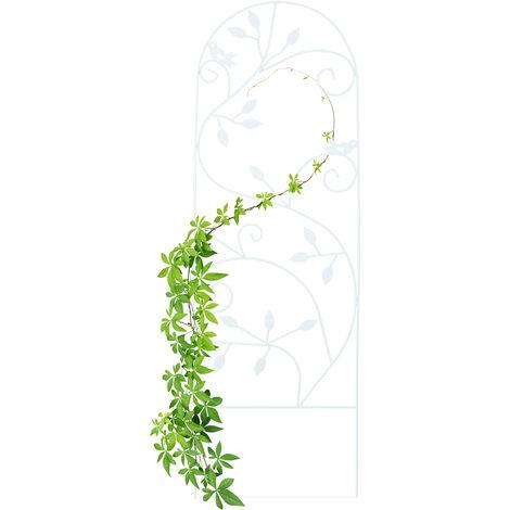 Enrejado metálico para jardín, Soporte para trepadoras, 120 x 40 cm, Decorado con pájaros, Blanco
