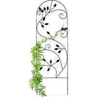 Enrejado metálico para jardín, Soporte para trepadoras, 120 x 40 cm, Decorado con pájaros, Negro