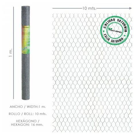 Enrejado triple torsion 16 ancho 50 cm rollo 10 metros uso domestico