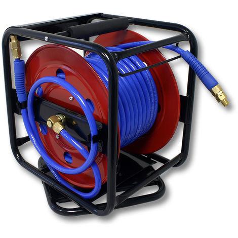 Enrollador automático para manguera de aire coprimido giratorio de acero 30 m 12 bar 12,91 mm