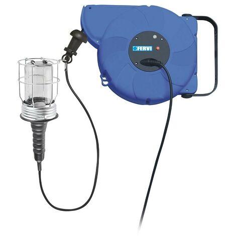 ENROLLADOR DE CABLE IP20 RETRACTIL 14 M PORTA LAMPARAS E27 FERVI 0428
