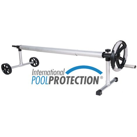 Enrollador en acero inox. extensible para piscinas de hasta 3.80 metros de ancho con tubo de 80mm de Ø. International Pool Protection.