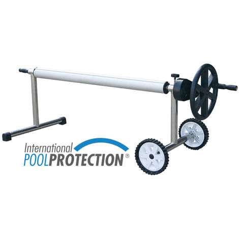 Enrollador en acero inox. extensible para piscinas de hasta 5.55 metros de ancho con tubo de 81mm de Ø con reductor de fuerza. International Pool Protection.