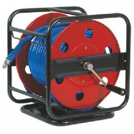 Enrollador Metálico y Manual con Manguera Aire Comprimido 40 metros - 12 bares - Profesional con soporte giratorio