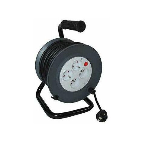 Enrouleur 4 prises HO5VV-F 25m + coupe-circuit