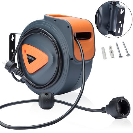 Enrouleur automatique de câble 15 m boîtier plastique cordon 1,5m pivotable 180°