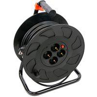 Enrouleur câble électrique 30m, 4 prises SCHUKO 3X1, 5mm2 (Max 3500W/15A)