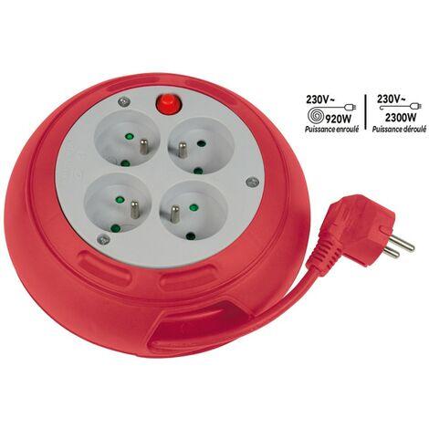 Enrouleur compact 4 prises avec interrupteur thermique - 3m - rouge 170 mm Rouge - Rouge