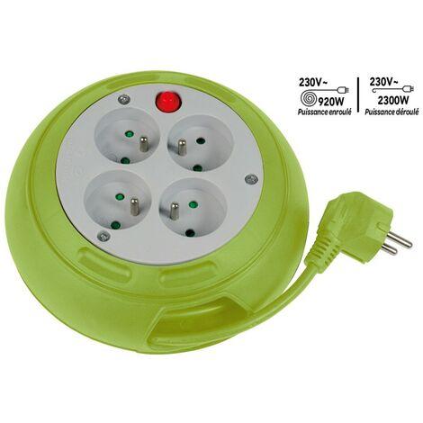 Enrouleur compact 4 prises avec interrupteur thermique - 3m - vert 170 mm Vert - Vert