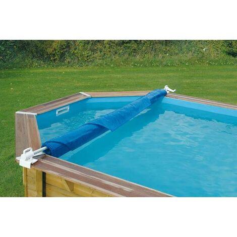 Enrouleur de bâche à bulles pour piscine en bois Ubbink Éco - Bleu