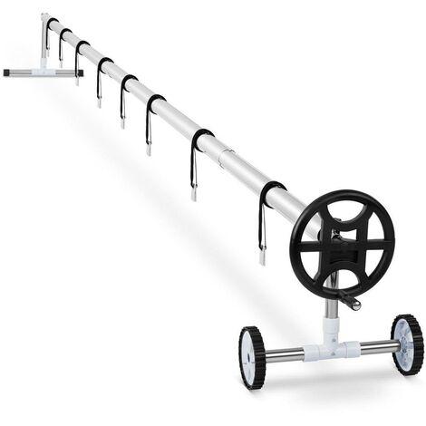 Enrouleur de bâche de piscine 4,2 à 5,2 m avec roues en inox 8 sangles comprises