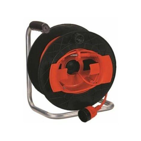 Enrouleur de câble 50m prise centrale italienne std. 2P+T 16A et prise std. 2P+T 16A monté sur remorque GOLIA GARDEN Fanton 11193
