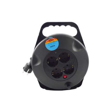 Enrouleur de cable avec 4 prises et cable 3G1,5 Noir 5 m