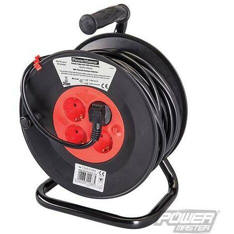 Enrouleur de câble électrique 230 V sur pied avec prises Schuko, 4 prises (CEE 7/4) / 16 A / 25 m