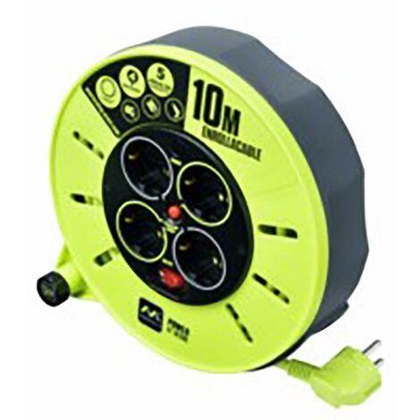 Enrouleur de câble électrique 4 prises Tt Thermostat 3X1,5Mm 10Mt Vert/Gris Acier/Pv