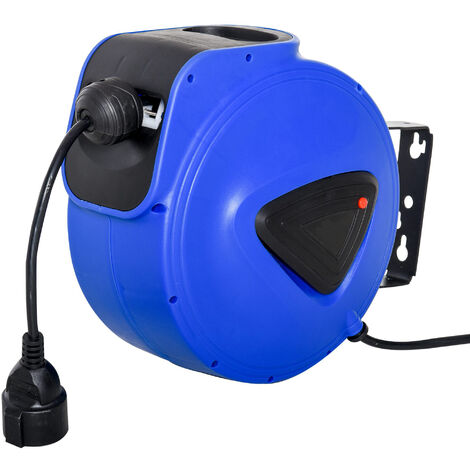 Enrouleur de câble électrique automatique 10 m - enrouleur électrique pivotant 180° support mural intégré bleu noir