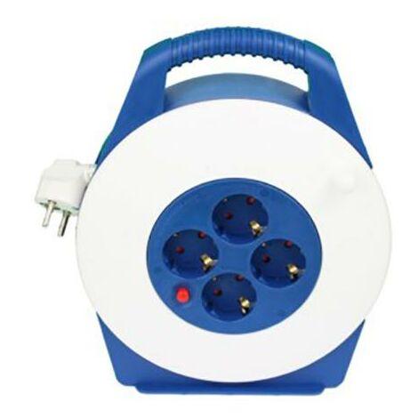 Enrouleur de c�ble �lectrique 4 prises Tt Thermostat 3X1,5Mm 10Mt 3200W Blanc/Bleu T