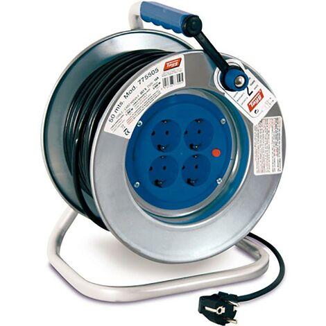 Enrouleur de c�ble �lectrique 4 prises Tt Thermostat 3X1,5Mm 50Mt 3500W Ip20 255Mm Metal Tayg