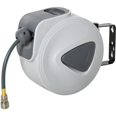 Enrouleur de tuyau à air comprimé - tuyau : 15 m + 1,4 m - Ø intérieur 3/8 (9,5 mm), 1/4 (6,35 mm) BSPT - dévidoir automatique pour tuyau d'air rétractable gris