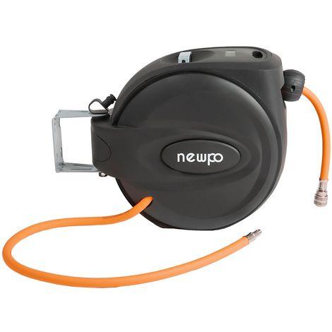 Enrouleur de tuyau pneumatique avec tuyau | Longueur 15 m | Fixation murale | newpo