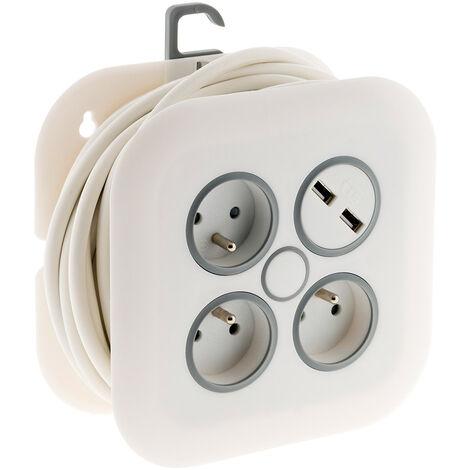Enrouleur domestique 3 prises 2P+T 16A + 2x USB - 7m - Zenitech