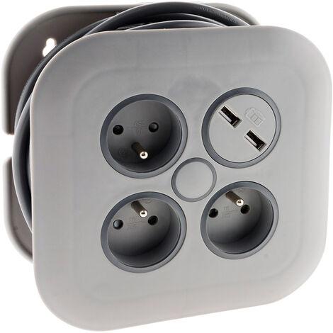 Enrouleur domestique 3 prises 2P+T 16A + coupe-circuit + 2x USB