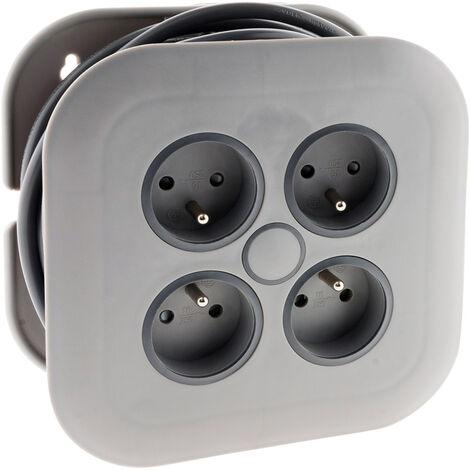Enrouleur domestique 4 prises 2P+T 16A + coupe-circuit