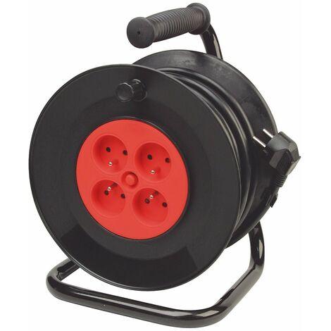 Enrouleur Electrique 25 Mètres Rallonge Cable Disjoncteur Thermique Multiprise