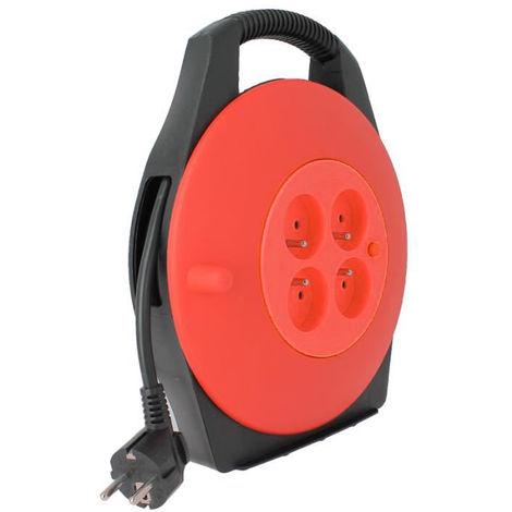 Enrouleur electrique 4 prises 10 mètres 3 X 1,5mm Rouge - Hobby Tech 7061253731458
