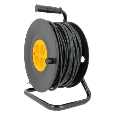 Enrouleur électrique 4 prises 16A/230VAC - 3G1,5 - 50 mètres + coupe circuit