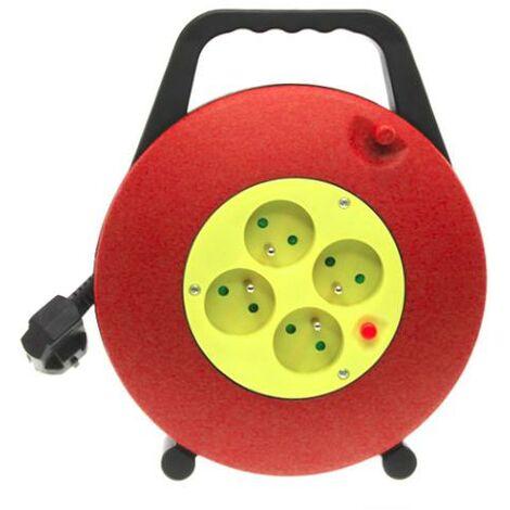 Enrouleur Electrique 4 Prises avec Protection Surchauffe + Câble Rallonge 10M - Rouge, Jaune - SILAMP