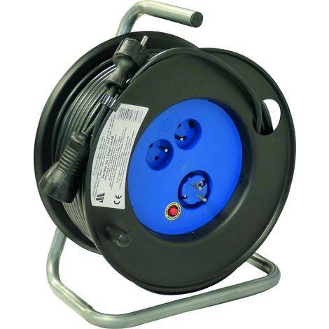 Enrouleur électrique Major 50M 3G 1.5 mm 2 prises 3000 watts - S01535
