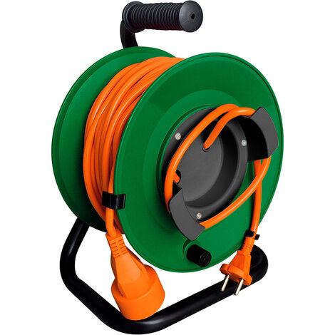 Enrouleur jardin étanche IP44 câble orange 2x1,5 mm² 22+3m avec prise 16A 2P+Terre à clapet & coupe circuit & support mural - Zenitech