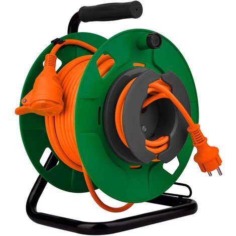 Enrouleur jardin étanche IP44 câble orange 3G1,5 mm² 32+3m avec prise 16A 2P+Terre à clapet & coupe circuit - Zenitech