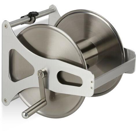 """main image of """"Enrouleur pour tuyau métal, Dévidoir vide, acier inoxydable & aluminium, sol & mur, 30,5x45x36,5 cm, argenté"""""""