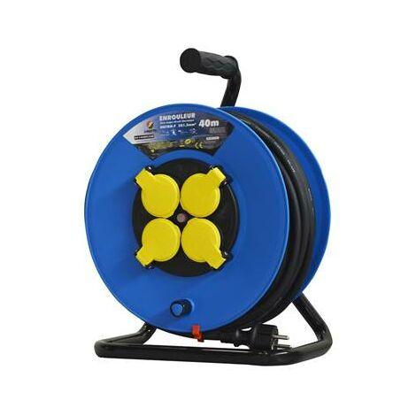 Enrouleur rallonge electrique 40 m 4 prises 3g1.5mm²