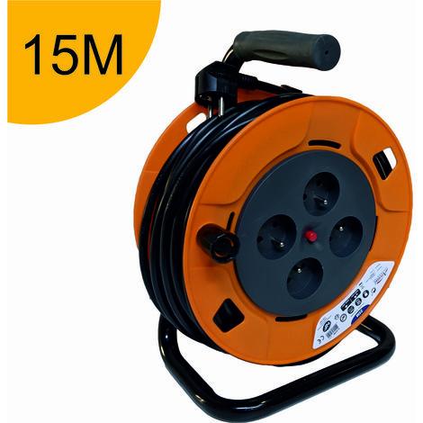 Enrouleur rallonge électrique - câble de 15m H05VV-F 3G1.50 mm² - 4 prises 16A