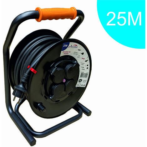 Enrouleur rallonge PRO de chantier IP44 - platine fine (anti twist) - câble de 25m H07RN-F 3G2.50 mm² - 4 prises 16A IP44