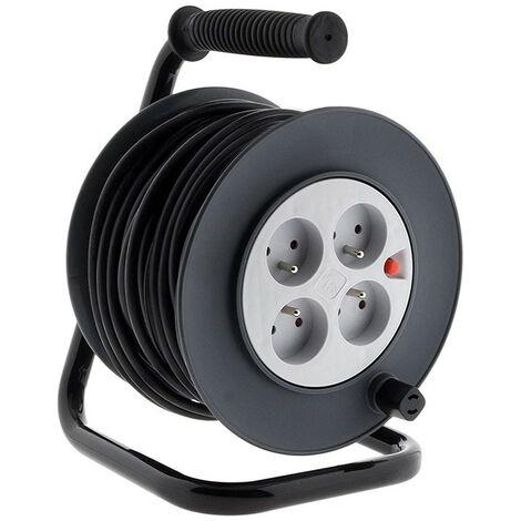 Enrouleurs bricolage 4 prises + coupe-circuit HO5VV-F 3G1mm², HO5VV-F 3G1,5mm² - 15m/25m/40m/50m
