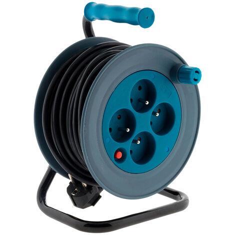 Enrouleurs domestiques 4 prises - HO5VV-F 3G1mm² 15m - bleu, rose, noir, anis et gris