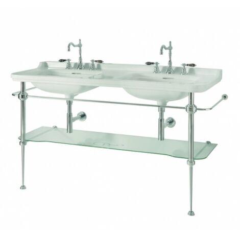 Ens. vasque double rétro céramique + piètement chromé WALDORF