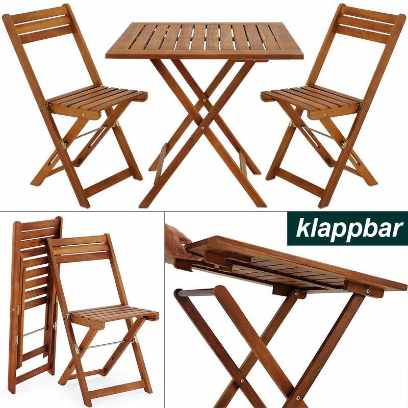 Ensemble table et chaises 3 pcs balcon pliable Salon de jardin en bois d''acacia Brun