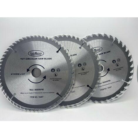 Ensemble 3 lames scie circulaire 160mm