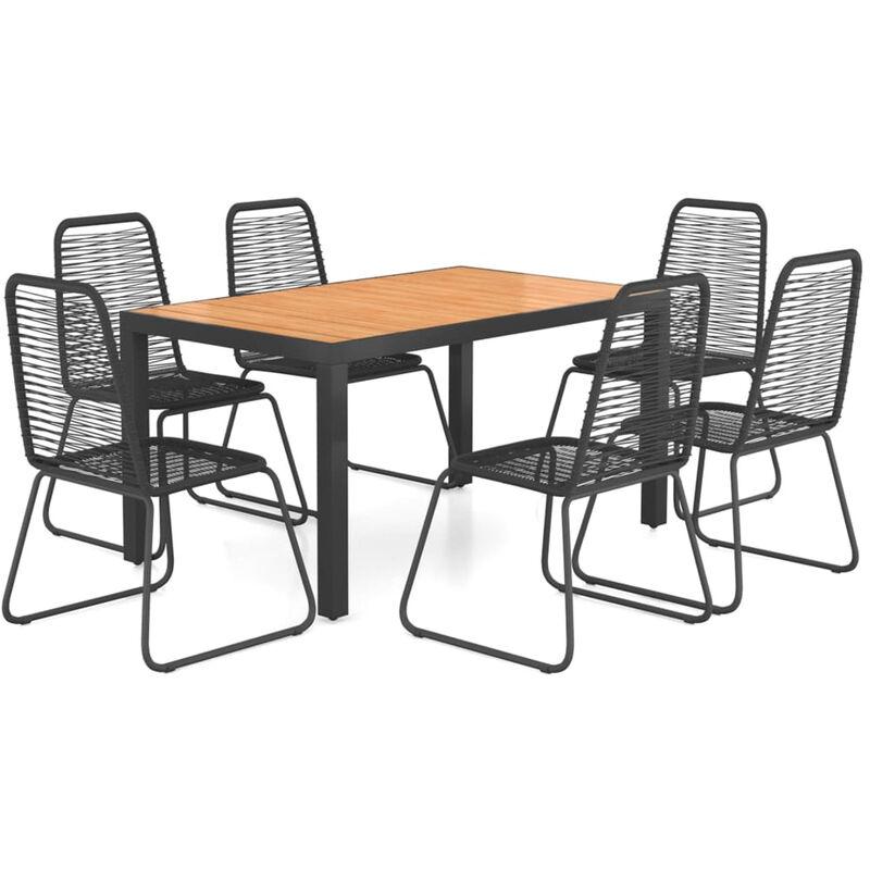 Ensemble a diner de jardin 7 pcs Rotin PVC Noir et marron