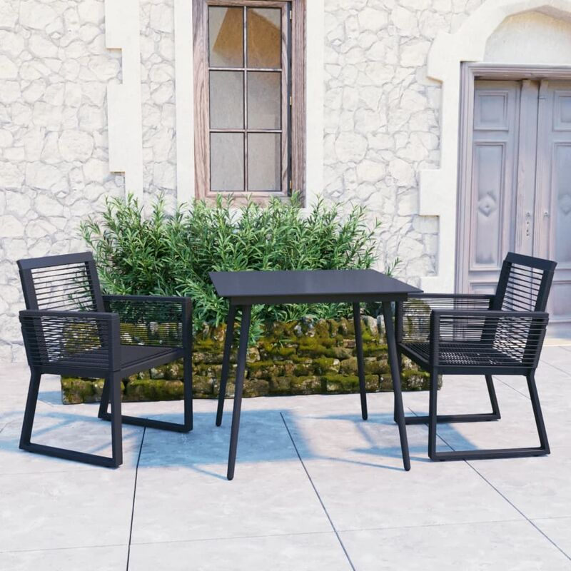 Vidaxl - Ensemble à dîner d'extérieur 3 pcs Rotin PVC Noir