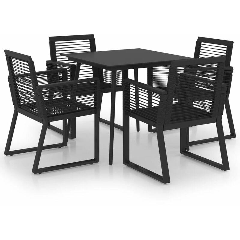 Ensemble à dîner d'extérieur 5 pcs Rotin PVC Noir