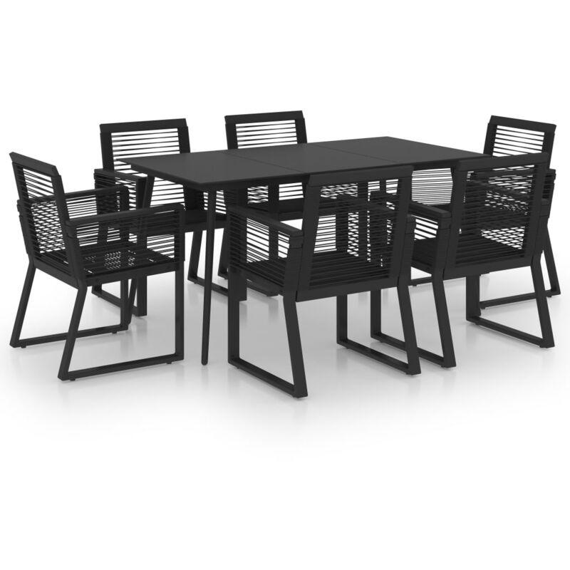 Ensemble à dîner d'extérieur 7 pcs Rotin PVC Noir